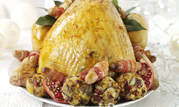 Saffron Turkey with Wild Rice & Cranberry Stuffing