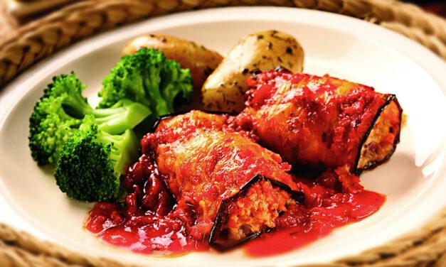 Aubergine and Turkey Rolls