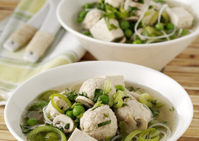 Light Turkey Noodle Soup with Mushrooms & Watercress