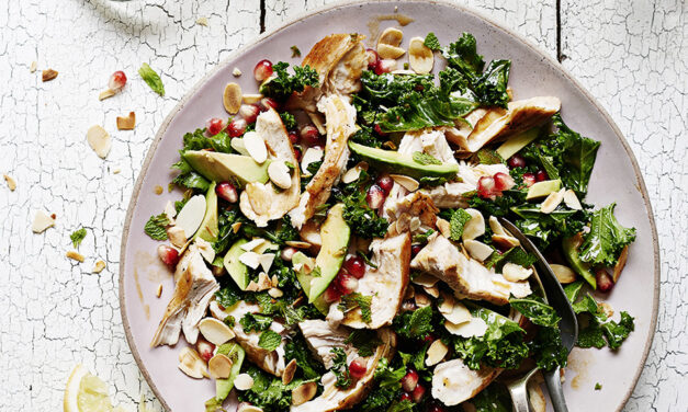 Shredded Turkey Salad with Fresh Mint, Miso Kale, Flaked Almonds, Avocado and Pomegranate