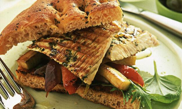 Seasoned British Turkey on Focaccia with Roasted Vegetables